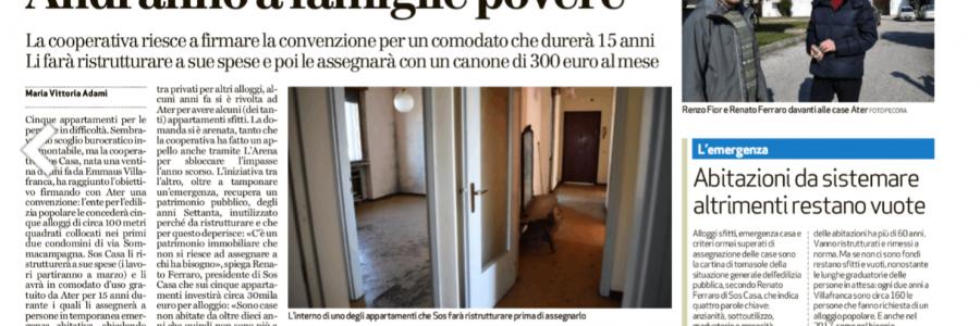 accordo S.O.S. Casa/ATER per gestire cinque alloggi a Villafranca